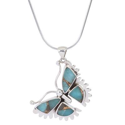 Composite Turquoise and Sterling Silver Butterfly Necklace