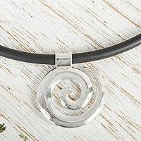 Sterling silver pendant necklace, 'Spiral to Infinity' - Taxco Sterling Silver Spiral Pendant Necklace from Mexico