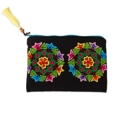 Black Clutch with Hand Embroidered Multi-Colored Mandalas