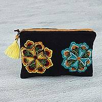 Cotton cosmetic bag, 'Brilliant Bloom' - Black Cotton Hand Embroidered Floral Motif Cosmetic Bag