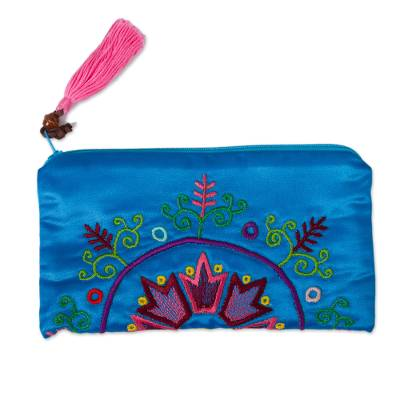 Silk Satin Hand Embroidered Turquoise Clutch Handbag