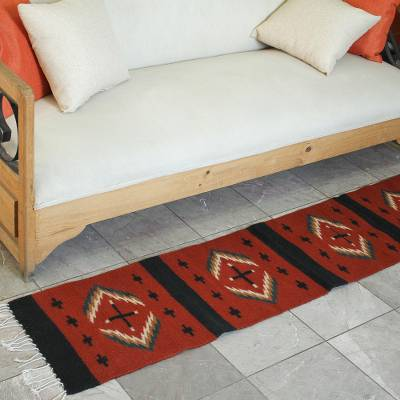 Zapotec wool runner, 'Cultural Intersection' (1x6.5) - Zapotec Wool Runner with Small and Large Crosses (1x6.5)
