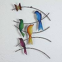 Iron wall sculpture, 'Friends of Summer' - Iron Wall Sculpture of Birds and a Butterfly from Mexico