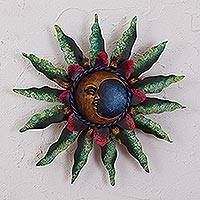 Steel wall sculpture, 'Gleaming Eclipse' - Crescent Moon Steel Wall Sculpture in Green from Mexico