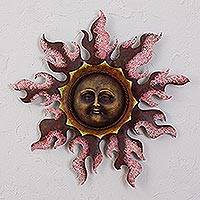 Iron wall sculpture, 'Radiant Flame' - Sun Iron Wall Sculpture in Pink from Mexico