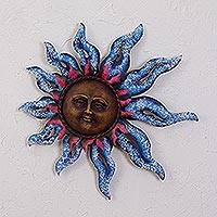 Steel wall sculpture, 'Sun of Spring' - Sun Steel Wall Sculpture in Blue from Mexico