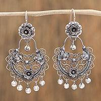 Sterling silver chandelier earrings, 'Love and Hope' - Flower and Bird-Themed Sterling Silver Earrings from Mexico