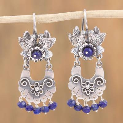 Lapis lazuli chandelier earrings, 'Basket of Flowers' - Bird-Themed Lapis Lazuli Chandelier Earrings from Mexico