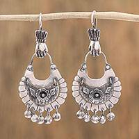 Sterling silver chandelier earrings, 'Floral Adoration' - Flower-Themed Silver Chandelier Earrings from Mexico