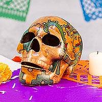 Ceramic skull, 'Aztec God of War' - Huitzilopochtli Aztec War God Ceramic Skull Sculpture