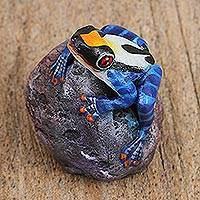 Ceramic sculpture, 'Frog on a Stone' - Handcrafted Painted Ceramic Frog Sculpture from Mexico