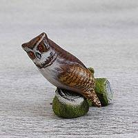 Ceramic figurine, 'Vigilant Hunter' - Handcrafted Signed Ceramic Owl Figurine from Mexico