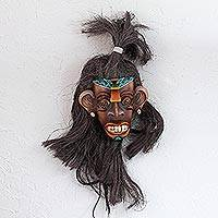 Leather mask, 'Warrior of the Aztecs' - Handcrafted Cultural Leather Aztec Mask from Mexico