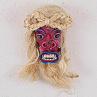Leather mask, 'Traditional Tastoan' - Traditional Leather Mask in Pink from Mexico