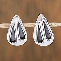 Sterling silver drop earrings, 'Twilight Rain' - Sterling Silver and Black Teardrop Modern Earrings