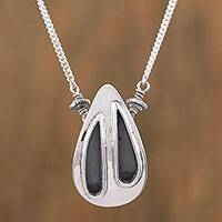 Sterling silver pendant necklace, 'Twilight Rain' - Sterling Silver and Black Teardrop Modern Pendant Necklace