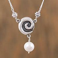 Cultured pearl pendant necklace, 'Elegant Whirl' - Cultured Pearl and Sterling Silver Pendant Necklace