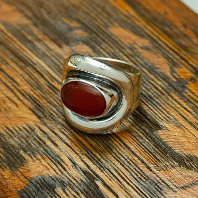 men's sterling silver skull bracelet - Carnelian and Sterling Silver Adjustable Wrap Cocktail Ring