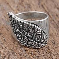 Sterling silver cocktail ring, 'Unfurled' - Sterling Silver Leaf Design Cocktail Ring