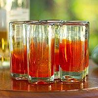 Blown glass shot glasses, 'Orange Waves' (set of 6) - Set of 6 Orange Blown Glass Shot Glasses from Mexico
