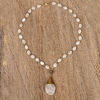 Gold plated quartz pendant necklace, 'Balance and Energy' - White Quartz Beaded Necklace with Gold-accented Pendant