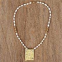 Gold-accented cultured pearl beaded pendant necklace,