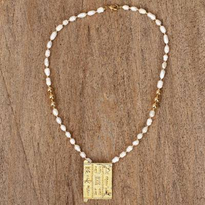 Gold-accented cultured pearl beaded pendant necklace, 'Fascinating Innocence' - Cultured Pearl and 18k Gold-accented Beaded Pendant Necklace