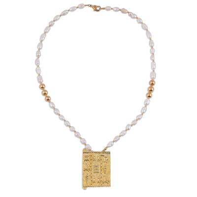 Cultured Pearl and 18k Gold-accented Beaded Pendant Necklace