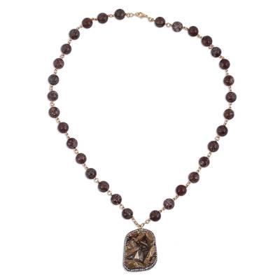 Agate and Quartz Beaded Pendant Necklace from Mexico