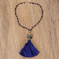 Gold-accented lapis lazuli beaded pendant necklace, 'Night Blues' - Lapis Lazuli Beaded Pendant Necklace with Gold Accents