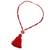Agate and marble beaded pendant necklace, 'Splendid Stone' - Agate and Marble Beaded Pendant Necklace with Red Tassel (image 2d) thumbail