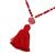 Agate and marble beaded pendant necklace, 'Splendid Stone' - Agate and Marble Beaded Pendant Necklace with Red Tassel (image 2e) thumbail