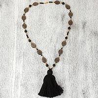 Smoky quartz and onyx beaded necklace, 'Silent Universe' - Smoky Quartz, Onyx and Gold Accented Brass Beaded Necklace