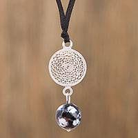 Agate filigree pendant necklace, 'Solar Circle' - Agate Filigree Pendant Necklace from Mexico