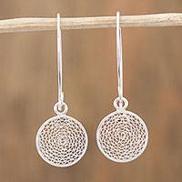 Sterling silver filigree dangle earrings, 'Solar Circles' - Sterling Silver Filigree Dangle Earrings from Mexico