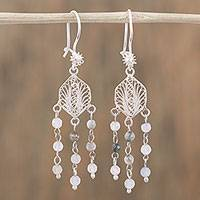 Agate filigree dangle earrings, 'Dainty Rain' - Agate and Silver Filigree Dangle Earrings from Mexico