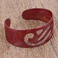 Copper cuff bracelet, 'Red Wave' - Handcrafted Copper Cuff Bracelet in Red from Mexico
