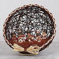 Ceramic and natural fiber nativity scene, 'Land and Origin' - Brown Ceramic and Natural Fiber Nativity Scene from Mexico