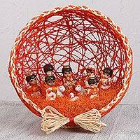 Ceramic and natural fiber nativity scene, 'Beginning of Happiness' - Orange Ceramic and Natural Fiber Nativity Scene from Mexico