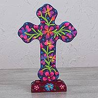 Wood sculpture, 'Forgotten Flowers' - Floral Cross Wood Sculpture in Purple from Mexico