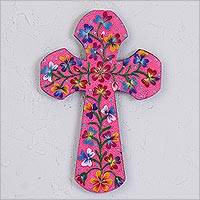 Wood wall cross, 'Purity and Happiness' - Hand-Painted Floral Wood Wall Cross in Pink from Mexico