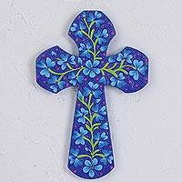 Wood wall cross, 'Divine Flowers' - Hand-Painted Floral Wood Wall Cross in Blue from Mexico