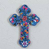 Wood wall cross, 'Faithful Roots' - Hand-Painted Floral Wood Wall Cross in Blue from Mexico