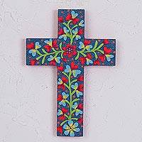 Wood wall cross, 'Christian Flowers' - Hand-Painted Floral Pinewood Wall Cross from Mexico