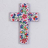Wood wall cross, 'Peace and Glory' - Hand-Painted Floral White Pinewood Wall Cross from Mexico