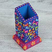 Wood pencil holder, 'Abundant Flowers' - Floral Pinewood Pencil Holder in Blue from Mexico