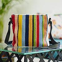 Leather accent wool sling, 'Blend of Stripes' - Multicolored Striped Wool Sling Handbag from Mexico