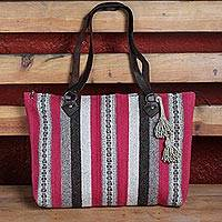 Leather accent wool shoulder bag, 'Sweet and Caring' - Handwoven Striped Wool Shoulder Bag from Mexico