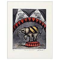 'Circus of Three Rings' - Signed Surrealist Print of an Elephant Circus from Mexico