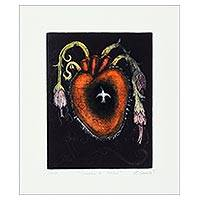 'Hummingbird Heart' - Signed Floral Heart Surrealist Print from Mexico